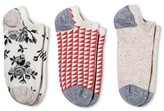 Merona Women's Low-Cut Socks 3-Pack Ivory Floral One Size