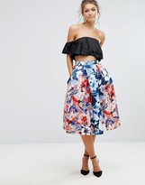 Closet London Prom Satin Midi Skirt In Floral