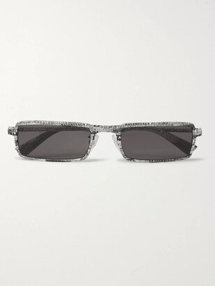 Balenciaga Rectangle-Frame Logo-Print Acetate Sunglasses