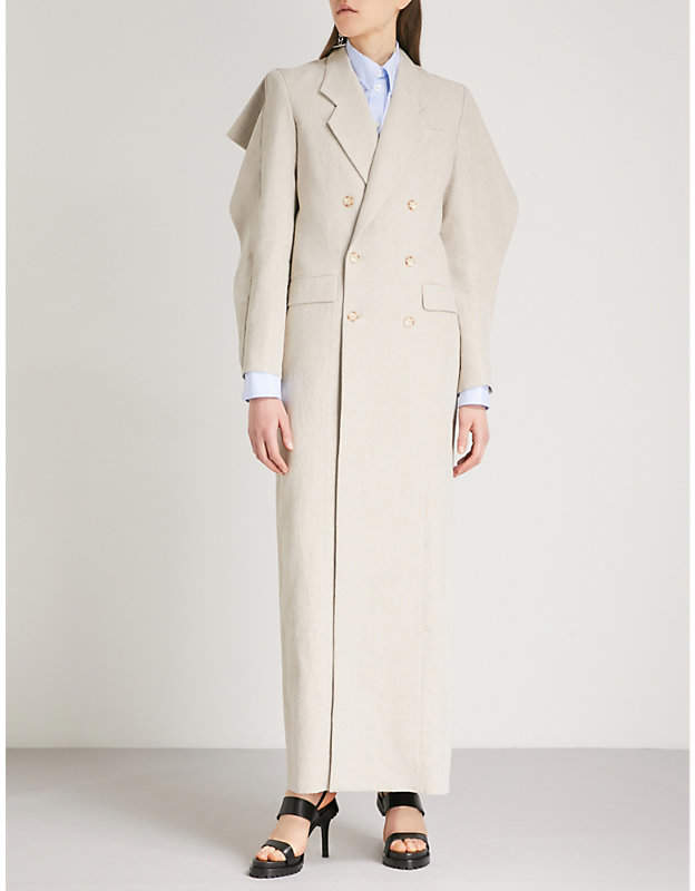 Y/Project Draped-sleeve double-breasted linen coat