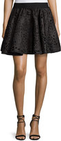Romeo & Juliet Couture Laser-Cut Floral-Print Skirt, Black