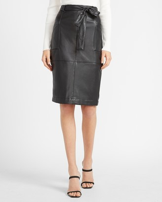 Express High Waisted Vegan Leather Belted Utility Pencil Skirt