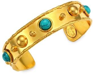 Sylvia Toledano Stone Massai 22K Yellow Goldplated & Turquoise Cuff