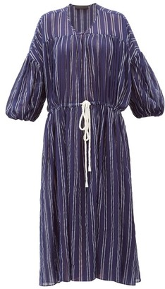 Love Binetti - Balloon-sleeve Striped Cotton Dress - Navy Stripe