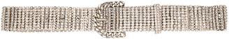 Alessandra Rich Crystal Round Buckle Belt in Silver | FWRD