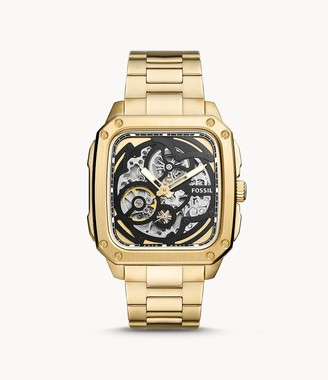 Fossil Inscription Automatic Gold-Tone Stainless Steel Watch