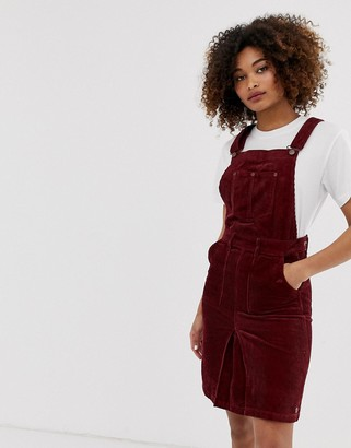 Pepe Jeans Shirley corduroy dungaree dress-Red