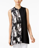 Alfani Printed Colorblocked Top, Only at Macy's