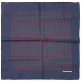 "Navy Printed Silk Pocket Square, 16"" x 16"""