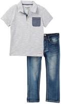 Hudson Stripe Polo & Denim Jean Set (Toddler)