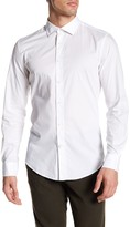 Ganesh Modern Fit Novelty Trim Solid White Stretch Shirt