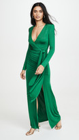 Alice + Olivia Kyra Deep V Drapey Maxi Dress
