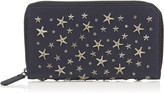 Jimmy Choo CARNABY Navy and Slate Grainy Calf Leather Travel Wallet with Crystal Stars
