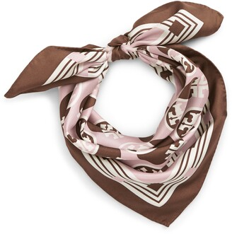Tory Burch Geometric Logo Silk Square Scarf
