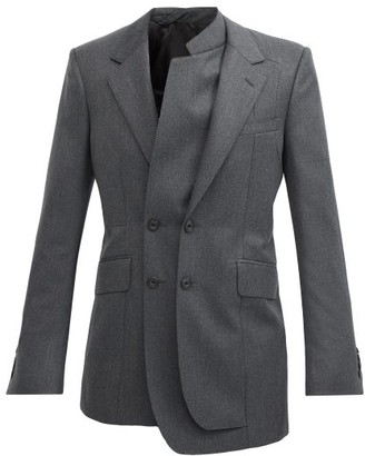 Alexander McQueen Asymmetric Layered Wool Double-breasted Jacket - Grey