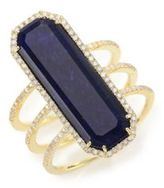 Meira T Sodalite, Diamond & 14K Yellow Gold Baguette Triple-Row Ring