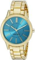 Nine West Women's NW/1758TQGB Teal Dial Gold-Tone Bracelet Watch