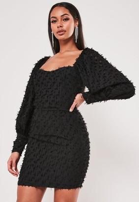 Missguided Black Textured Puff Sleeve Low Back Mini Dress