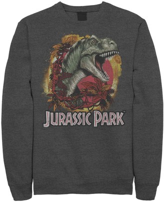 Jurassic World Men's Jurassic Park T-Rex Explosion Tropical Logo Graphic Graphic Fleece Pullover Pullover