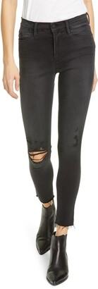 Frame Le High Ripped Raw Hem Crop Skinny Jeans