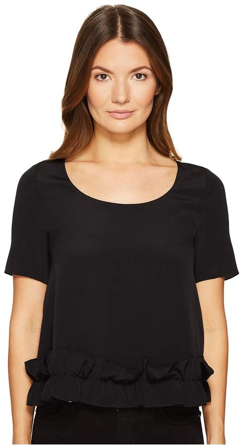 Moschino Crepe De Chine Short Sleeve Ruffle Blouse Women's Clothing