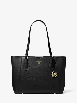 MICHAEL Michael Kors MK Mae Medium Pebbled Leather Tote Bag - Black - Michael Kors