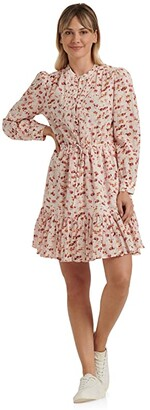 Lucky Brand Long Sleeve Button-Up Tie Waist Printed Riley Maxi Dress (Pink Multi) Women's Clothing