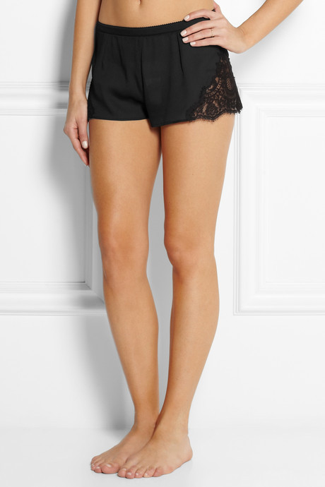 Dolce & Gabbana Lace-paneled silk-blend georgette shorts