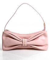 Furla Pink Leather Silver Tone Bow Detailed Mini Shoulder Handbag In Dustbag