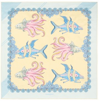 Guananan London The Fish Silk Scarf Pearl