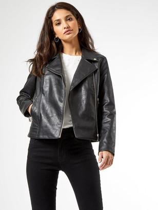 Dorothy Perkins Faux Leather Pu Biker Jacket - Black