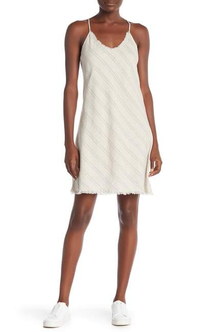 ATM Anthony Thomas Melillo Striped V-Neck Linen Blend Tank Dress