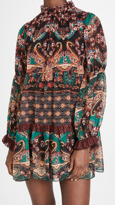 Alice + Olivia Marella Mock Neck Long Sleeve Tunic Dress