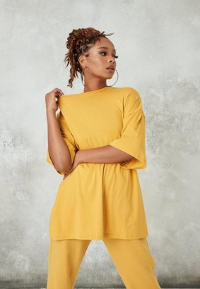 Missguided Mustard Drop Shoulder Oversized T Shirt