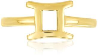 Sterling Forever 14K Gold Vermeil Plated Sterling Silver Adjustable Zodiac Ring - Gemini
