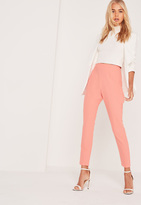 Missguided High Waisted Cigarette Trousers Pink