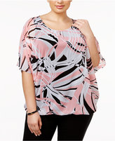 Alfani Plus Size Printed Mesh Blouse, Only at Macy's
