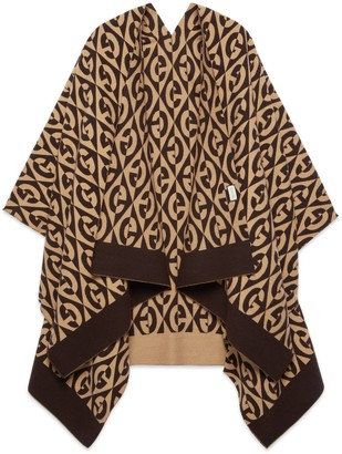 Gucci G rhombus wool cotton poncho