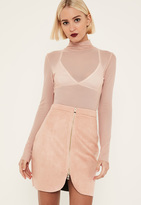 Missguided Pink Faux Suede Zip Through Curve Detail Mini Skirt