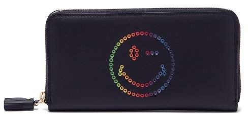 Anya Hindmarch Rainbow Wink Leather Continental Wallet - Womens - Navy Multi