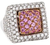 Ring 18K Pink Sapphire & Diamond Cocktail