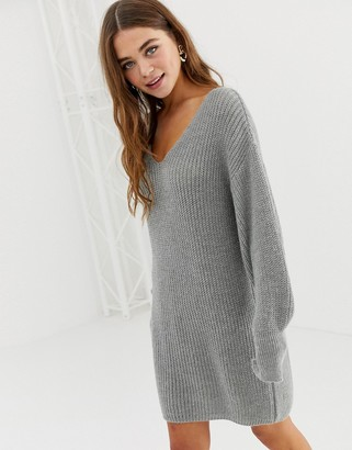 Asos DESIGN v neck mini dress with volume sleeve