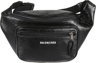 Balenciaga Grained Leather Logo Belt Bag
