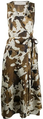 Golden Goose Cow Hide-Print Sleeveless Wrap Dress