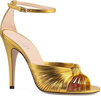 Gucci Crawford Metallic Leather Sandals