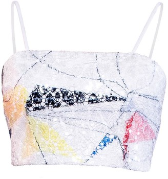 L'momo Abstract Sequin Crop Top With Shoestring Straps