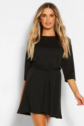 boohoo 3/4 Sleeve Belted Shift Dress