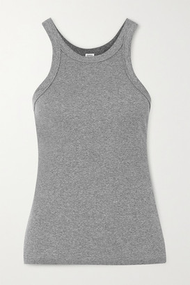 Totême Espera Ribbed Melange Stretch Organic Cotton-jersey Tank - Gray