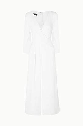 Talbot Runhof Silva Cropped Cape-effect Draped Crepe Jumpsuit - White