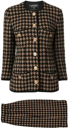 Chanel Pre-Owned houndstooth slim-fit skirt suit